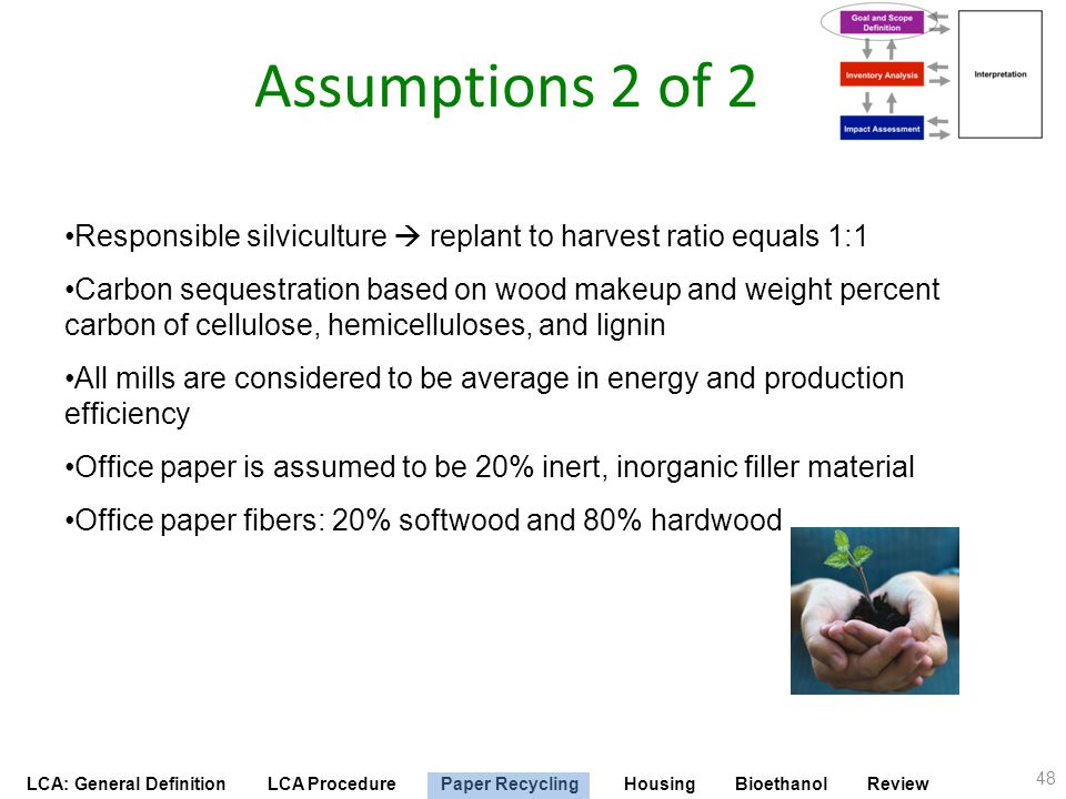 Assumptions 2 of 2 Responsible silviculture  replant to harvest ratio equals 1:1.
