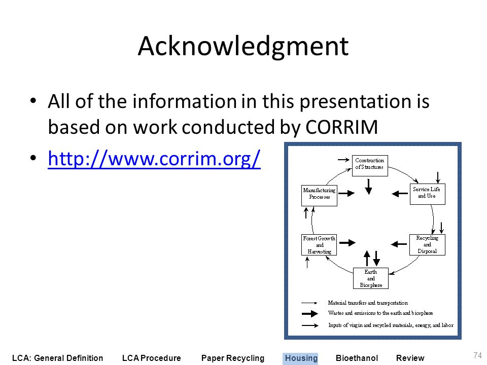 Acknowledgment All of the information in this presentation is based on work conducted by CORRIM. http://www.corrim.org/