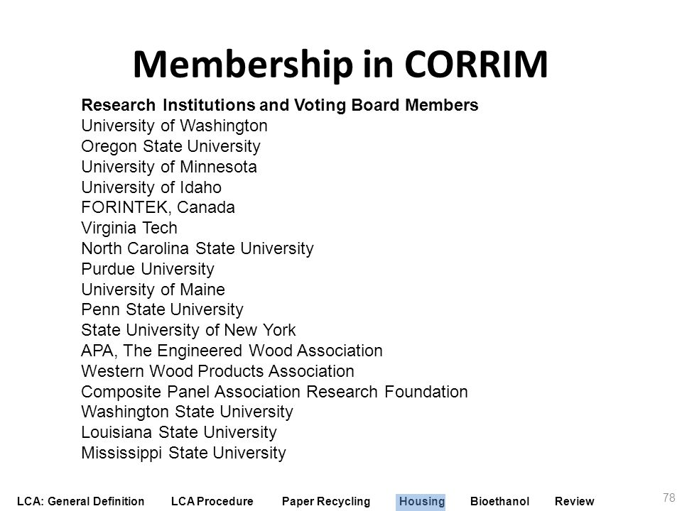 Membership in CORRIM Research Institutions and Voting Board Members