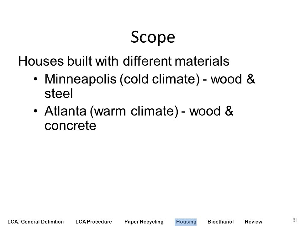 Scope Houses built with different materials