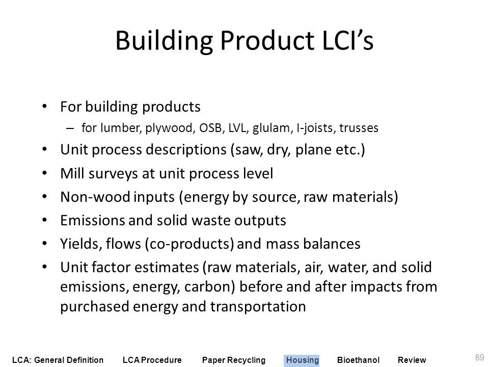 Building Product LCI's