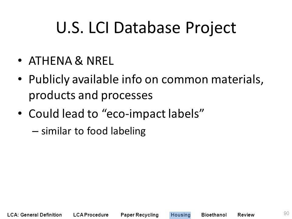U.S. LCI Database Project