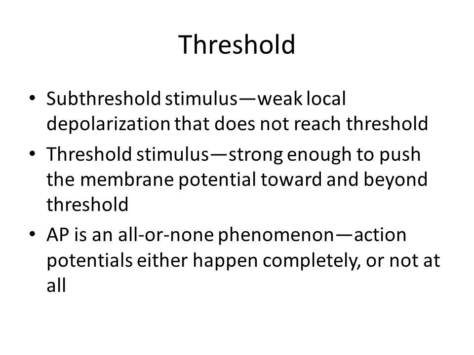 Threshold Subthreshold stimulus—weak local depolarization that does not reach threshold.