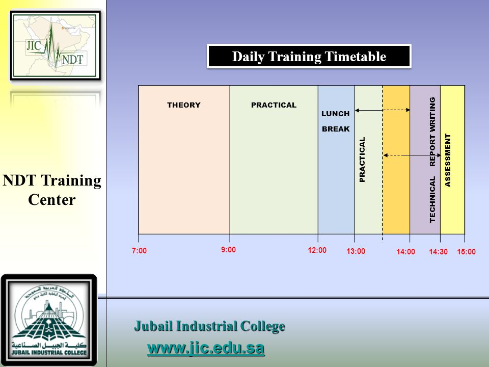 Daily Training Timetable