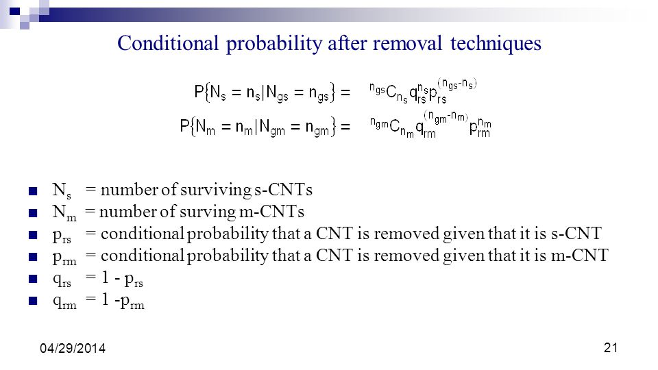 Conditional probability after removal techniques
