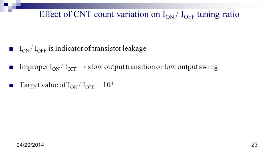 Effect of CNT count variation on ION / IOFF tuning ratio