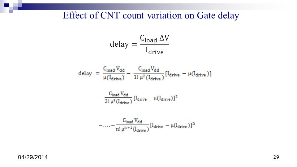 Effect of CNT count variation on Gate delay