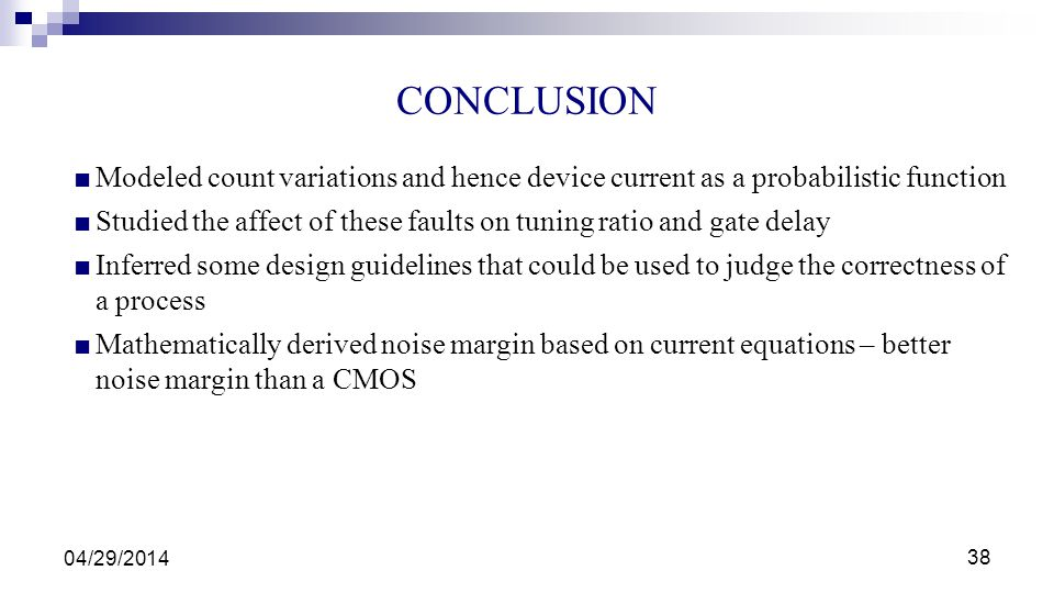 CONCLUSION Modeled count variations and hence device current as a probabilistic function.
