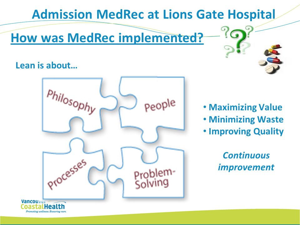 Admission MedRec at Lions Gate Hospital Continuous improvement