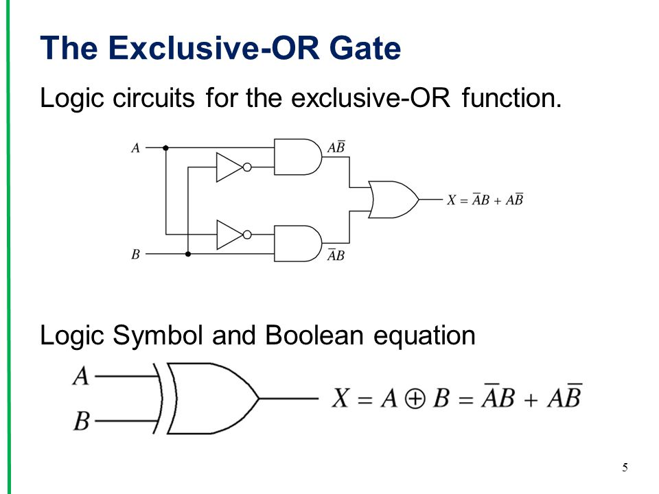 The Exclusive-OR Gate Logic circuits for the exclusive-OR function. Logic Symbol and Boolean equation