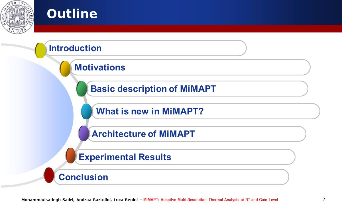 Outline Introduction Motivations Basic description of MiMAPT