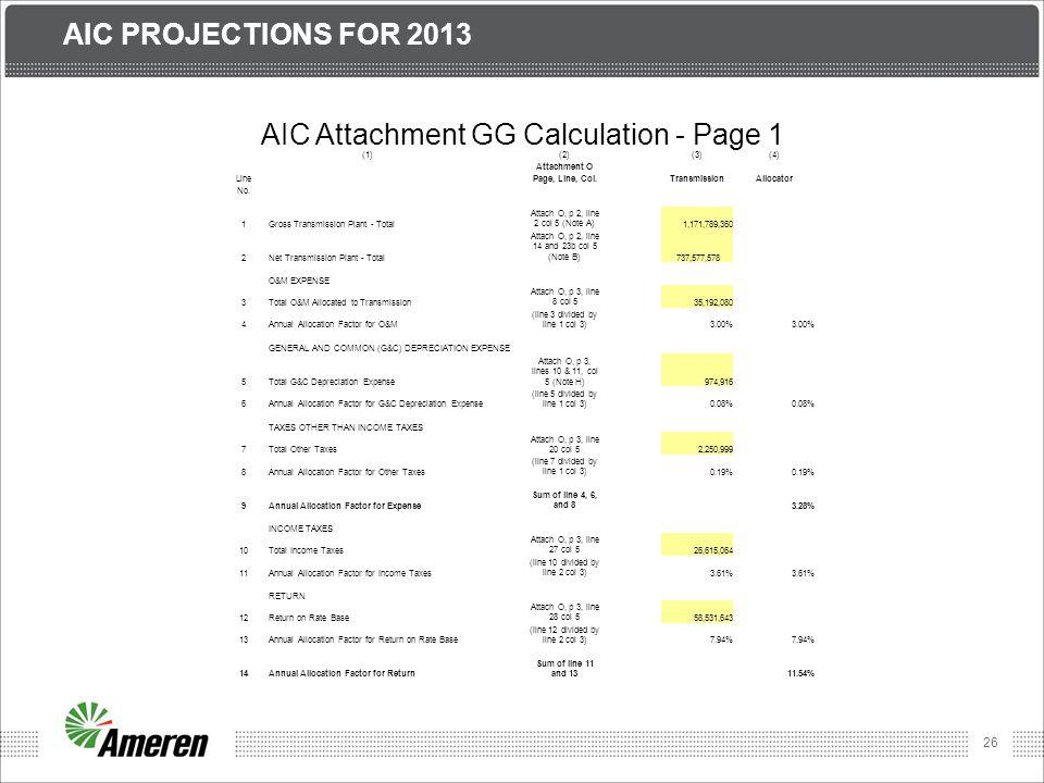 AIC Attachment GG Calculation - Page 1