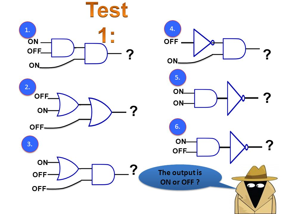 Test 1: The output is ON or OFF ON OFF ON OFF 5.