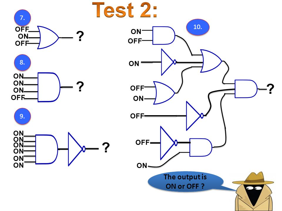 Test 2: The output is ON or OFF 7. 10. OFF ON ON OFF OFF 8.