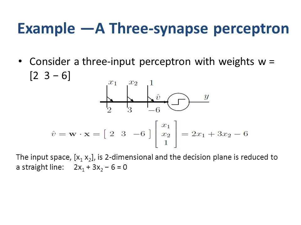 Example —A Three-synapse perceptron