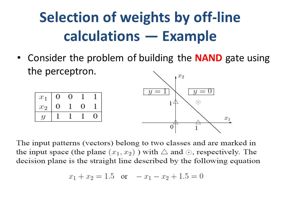 Selection of weights by off-line calculations — Example