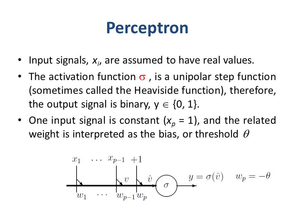Perceptron Input signals, xi, are assumed to have real values.