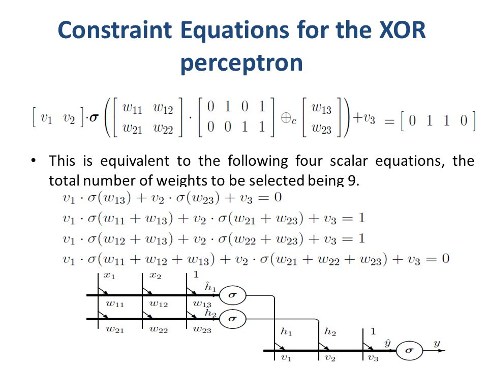 Constraint Equations for the XOR perceptron