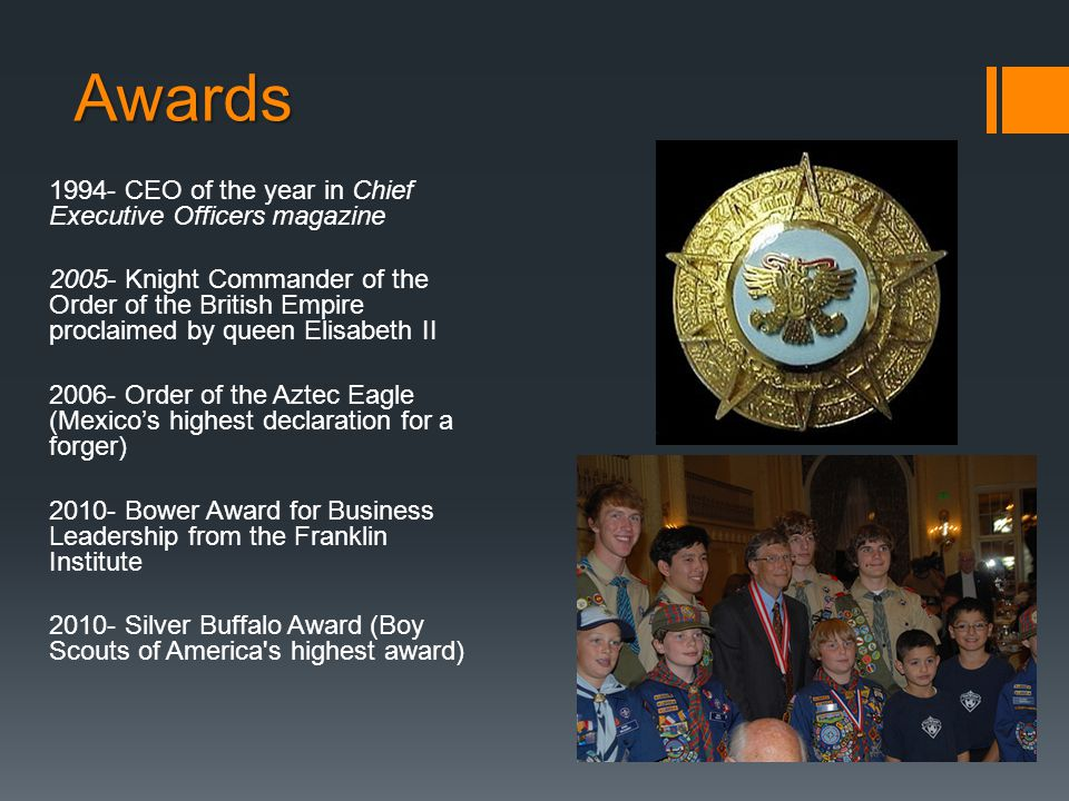 Awards 1994- CEO of the year in Chief Executive Officers magazine