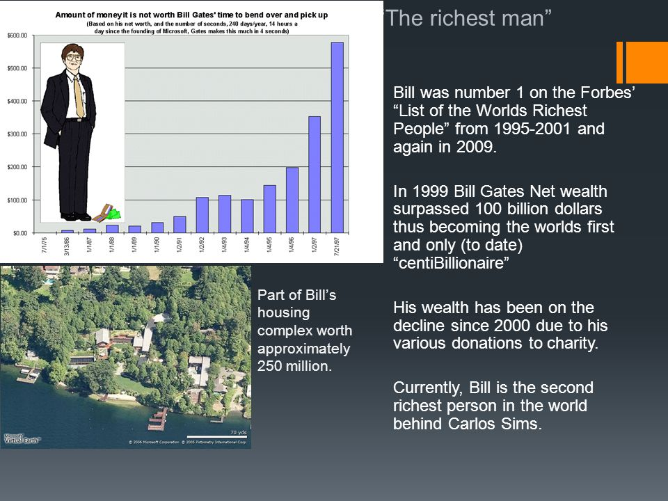 The richest man Bill was number 1 on the Forbes' List of the Worlds Richest People from 1995-2001 and again in 2009.