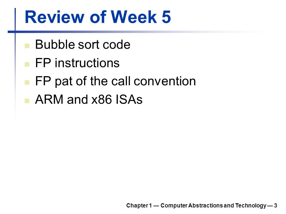 Review of Week 5 Bubble sort code FP instructions