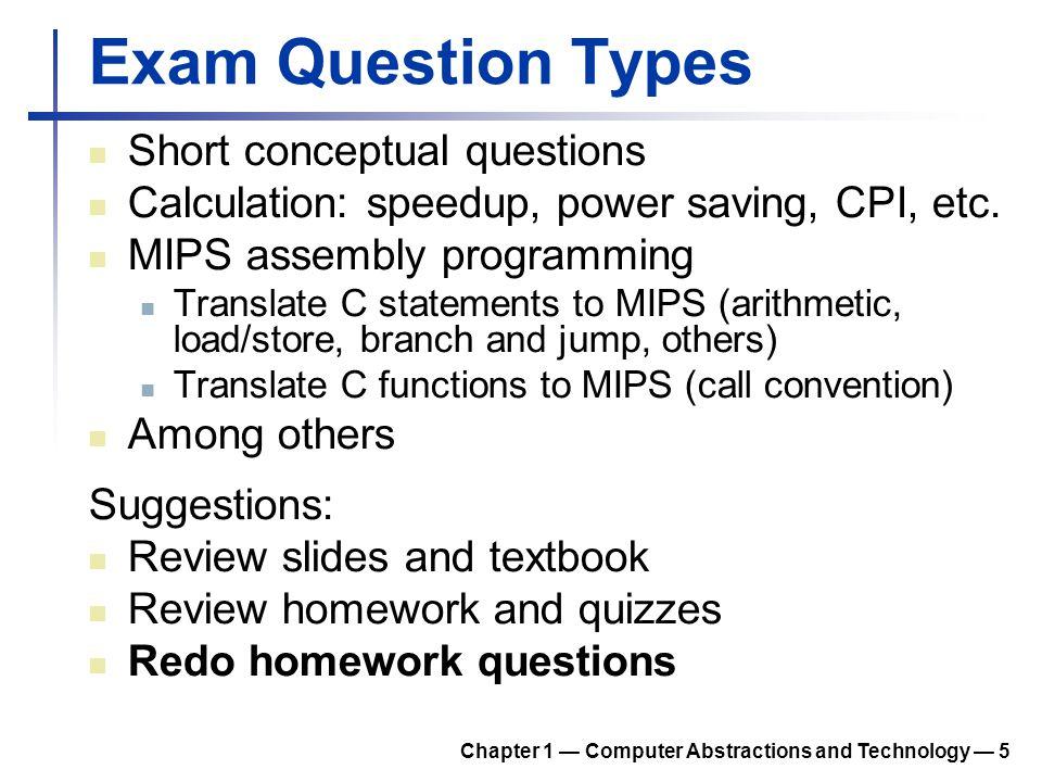 Exam Question Types Short conceptual questions