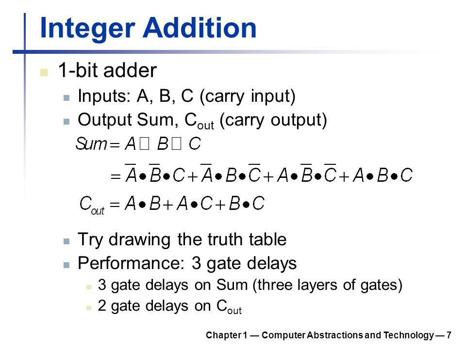 Integer Addition 1-bit adder Inputs: A, B, C (carry input)