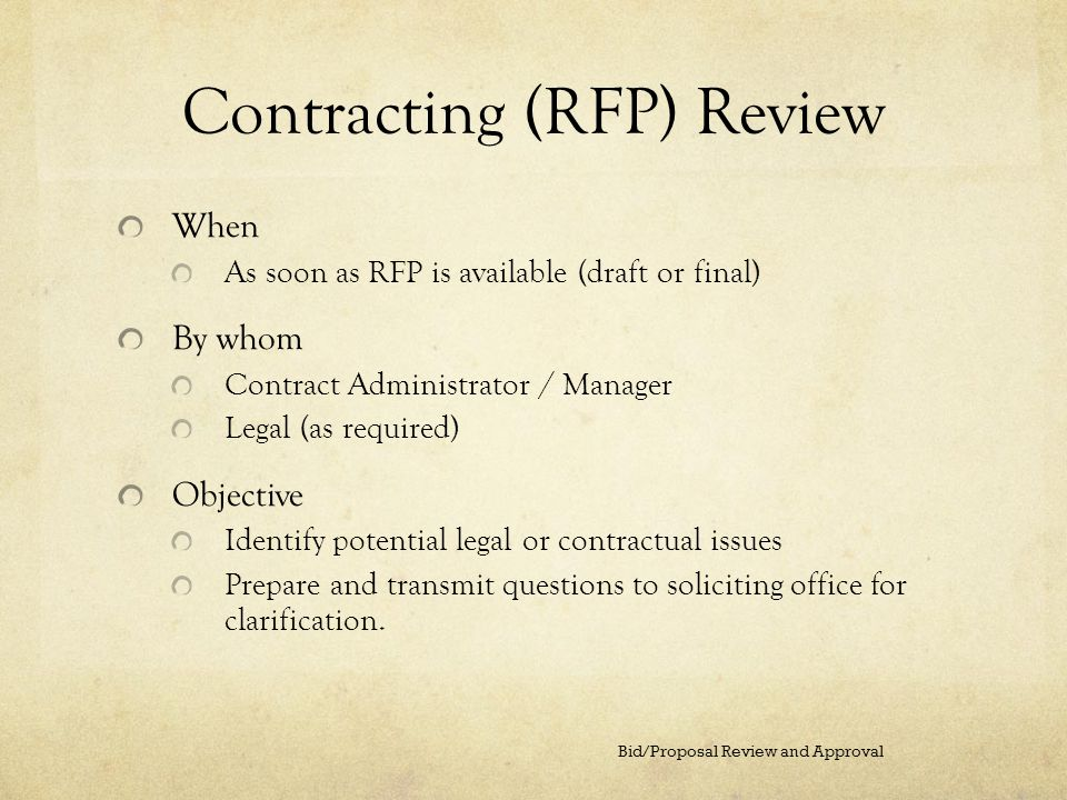 Contracting (RFP) Review