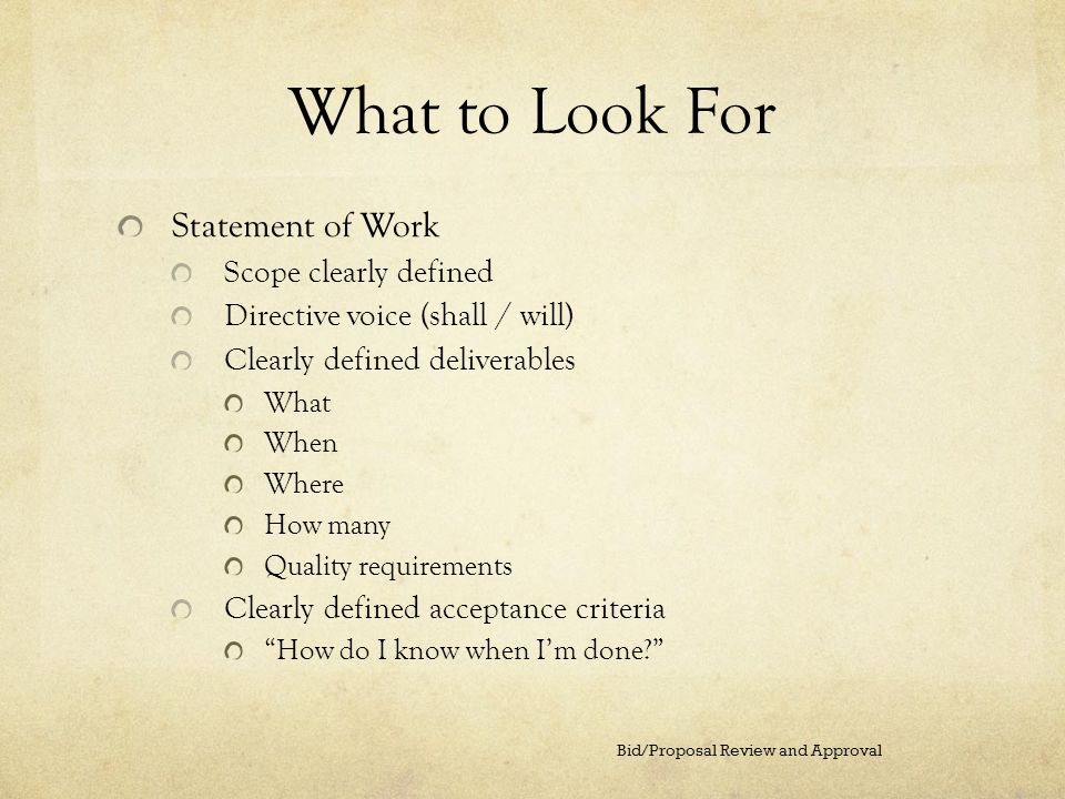 What to Look For Statement of Work Scope clearly defined