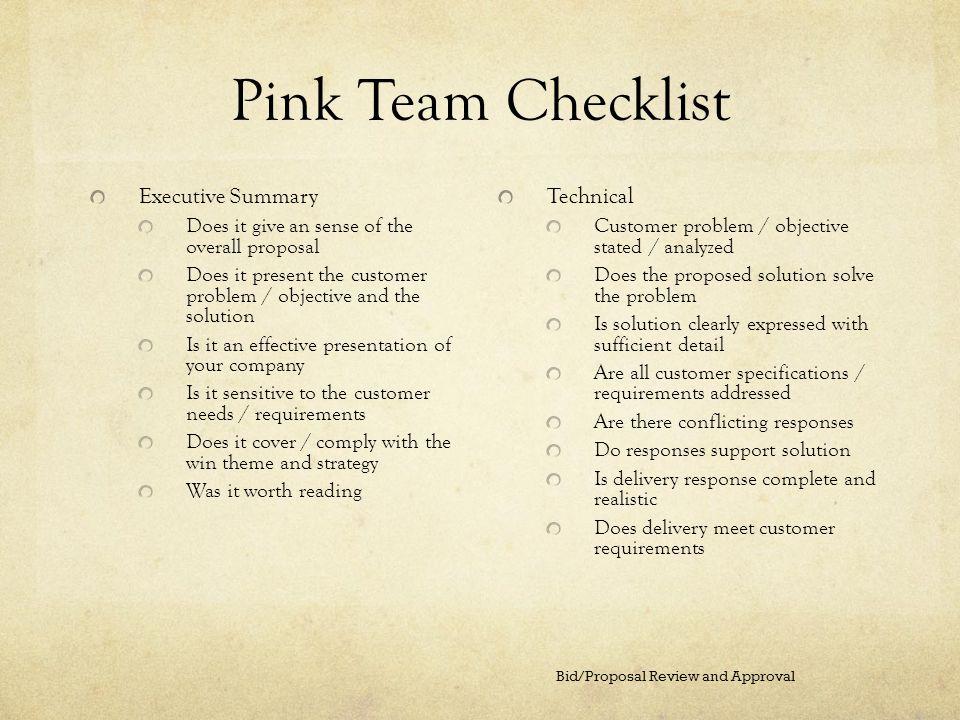 Pink Team Checklist Executive Summary Technical