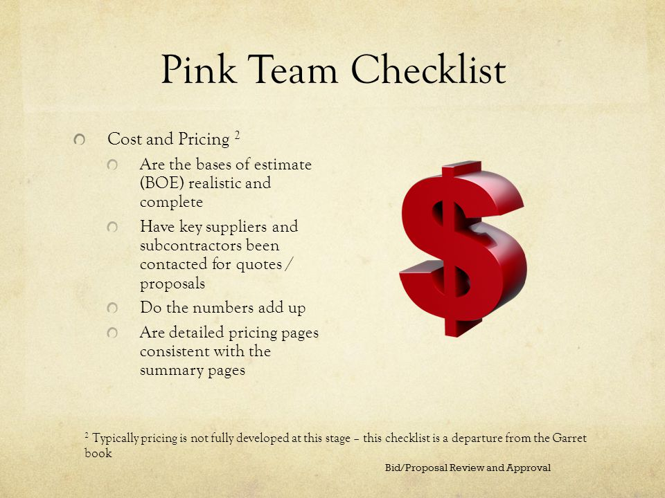 Pink Team Checklist Cost and Pricing 2