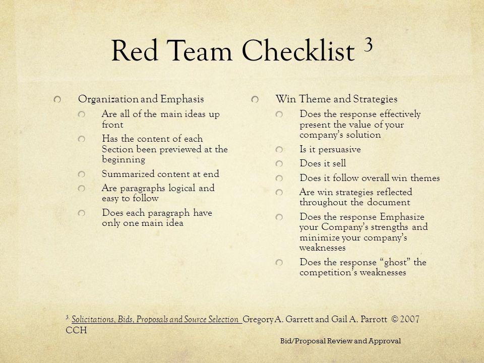 Red Team Checklist 3 Organization and Emphasis