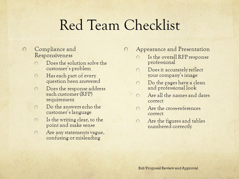 Red Team Checklist Compliance and Responsiveness