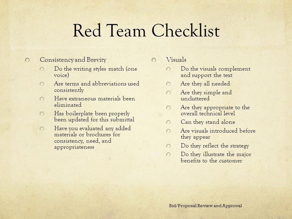 Red Team Checklist Consistency and Brevity Visuals