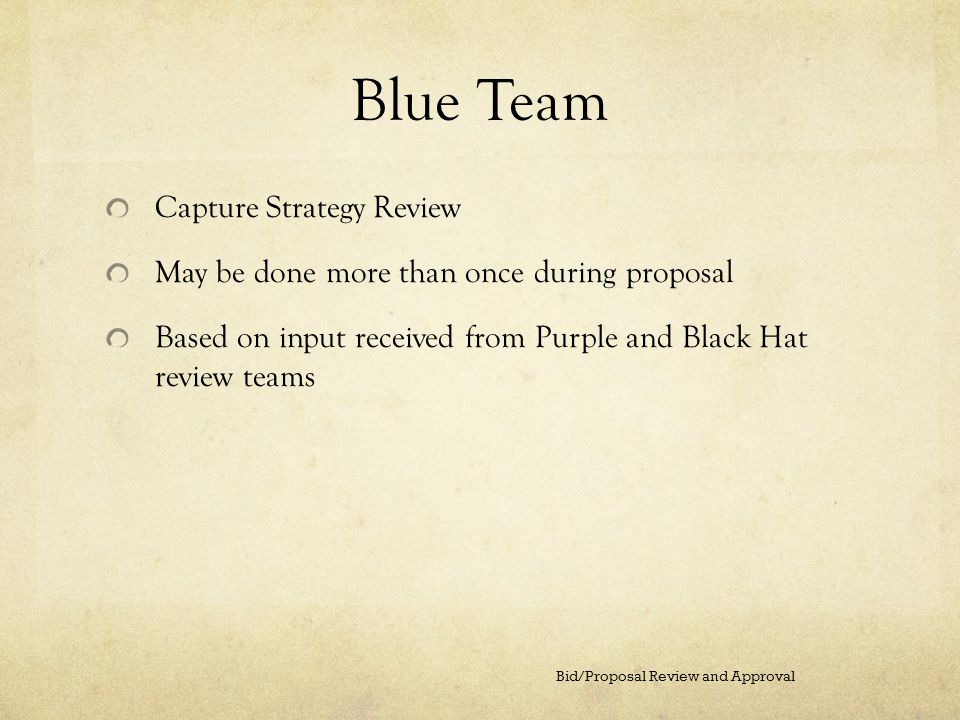 Blue Team Capture Strategy Review