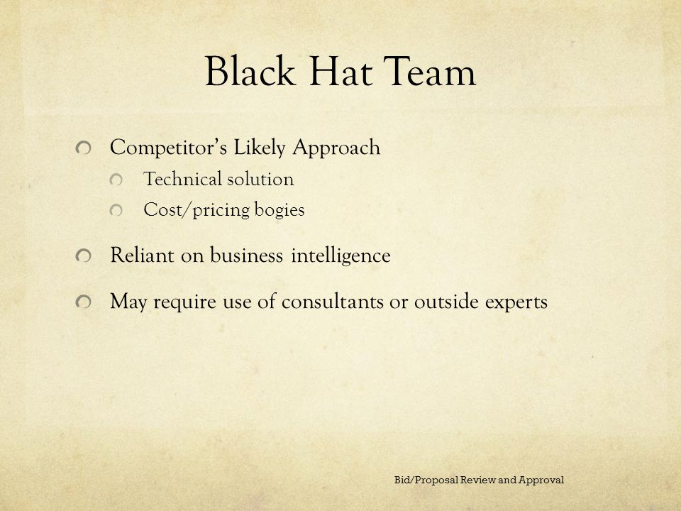 Black Hat Team Competitor's Likely Approach