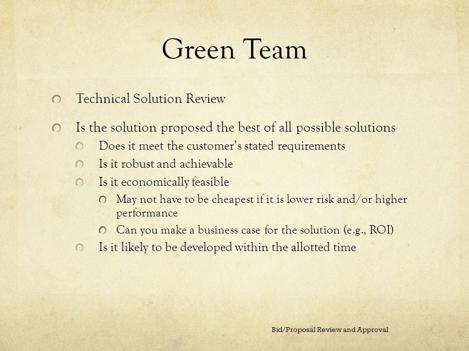 Green Team Technical Solution Review