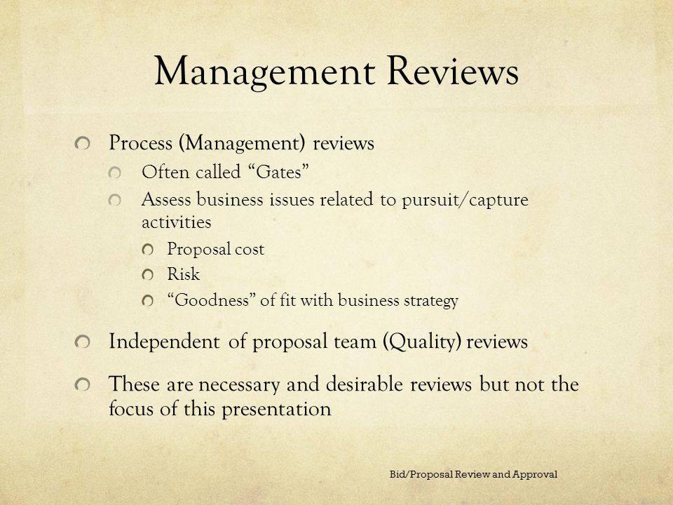 Management Reviews Process (Management) reviews