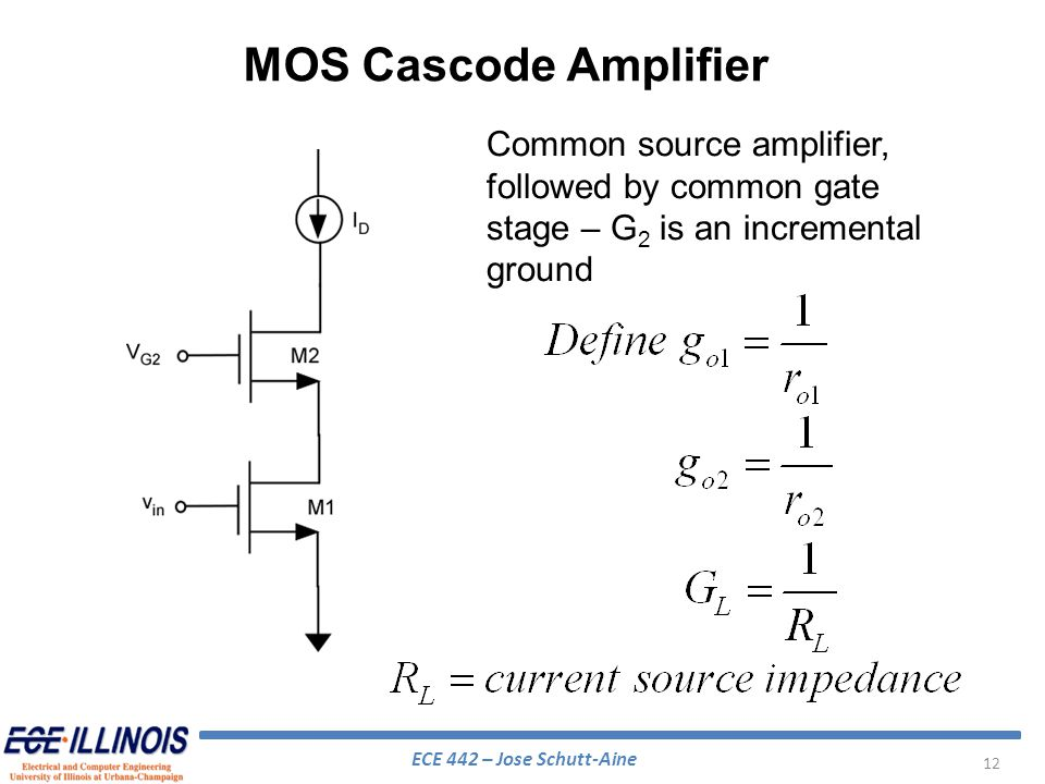 MOS Cascode Amplifier Common source amplifier, followed by common gate stage – G2 is an incremental ground.