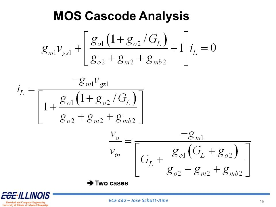 MOS Cascode Analysis Two cases