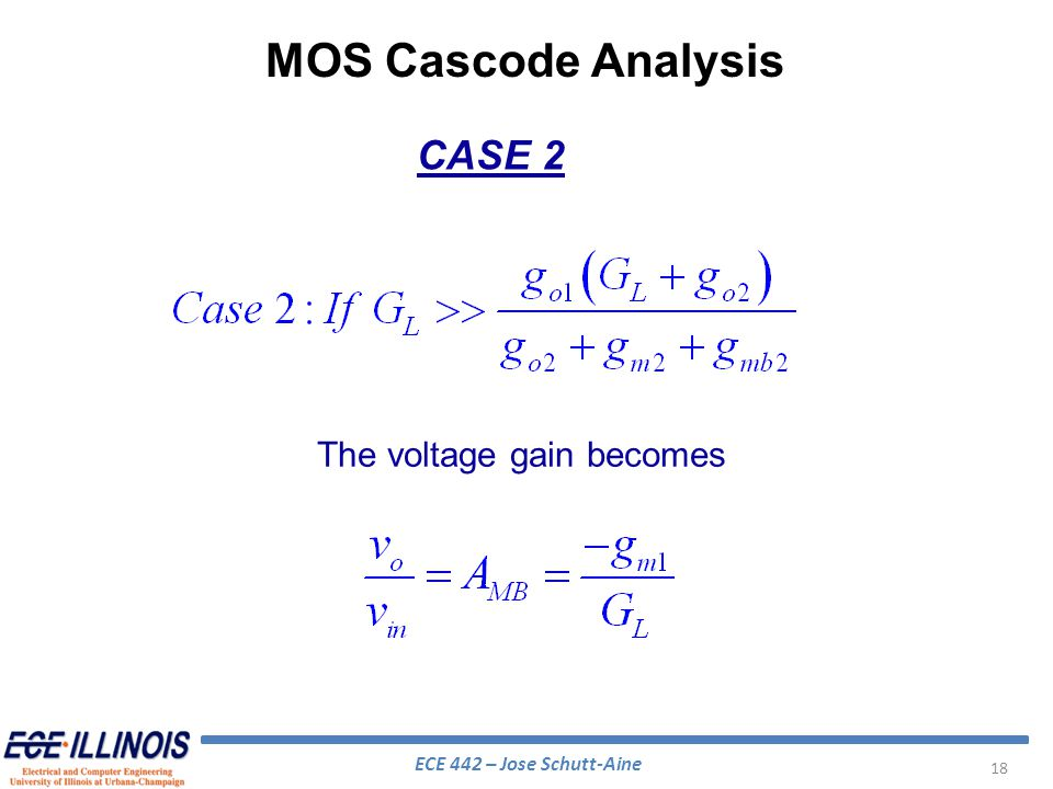 MOS Cascode Analysis CASE 2 The voltage gain becomes