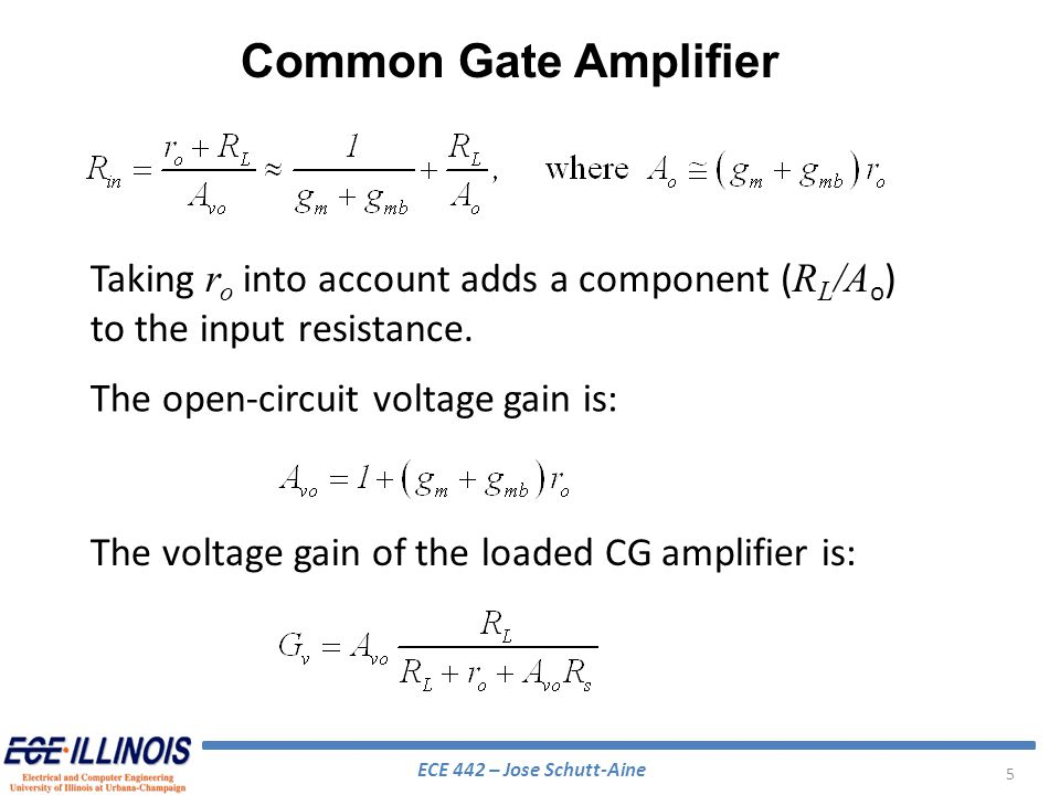 Common Gate Amplifier Taking ro into account adds a component (RL/Ao) to the input resistance. The open-circuit voltage gain is: