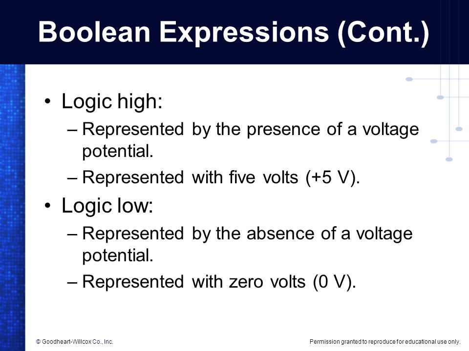 Boolean Expressions (Cont.)