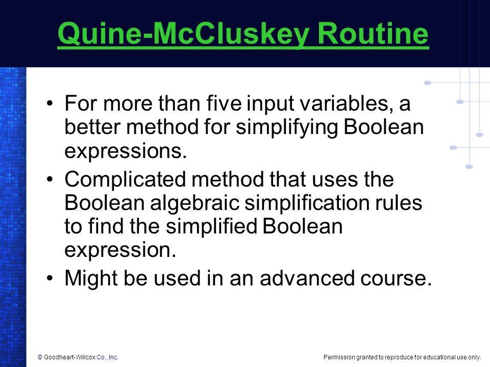 Quine-McCluskey Routine