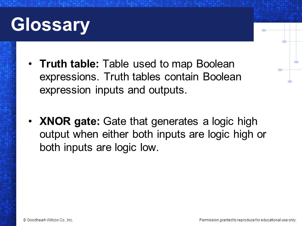 Glossary Truth table: Table used to map Boolean expressions. Truth tables contain Boolean expression inputs and outputs.