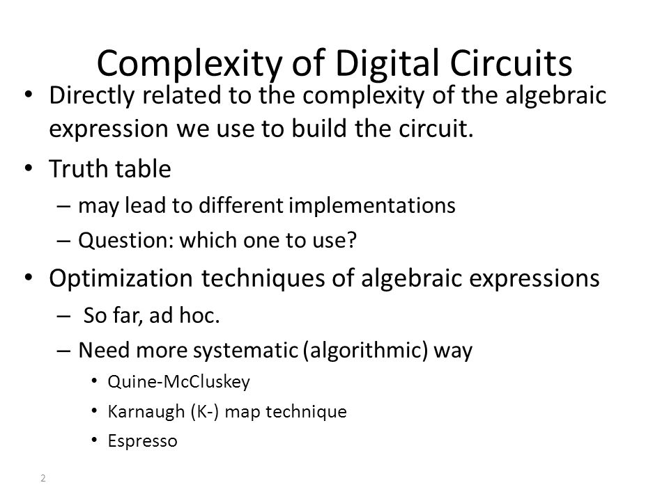 Complexity of Digital Circuits