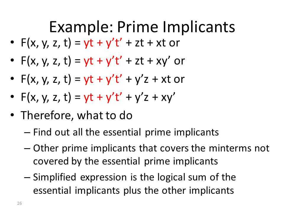 Example: Prime Implicants
