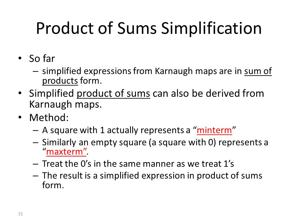 Product of Sums Simplification