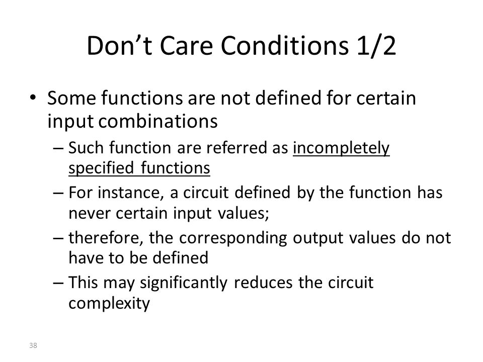 Don't Care Conditions 1/2