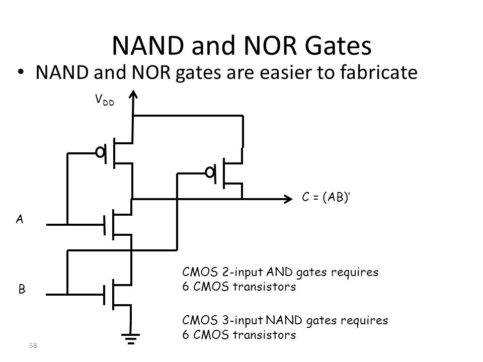 NAND and NOR Gates NAND and NOR gates are easier to fabricate VDD